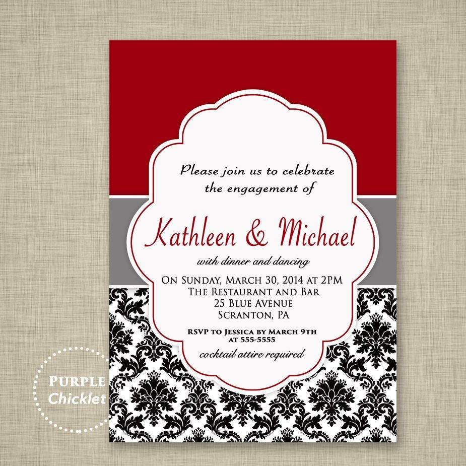 Wedding Engagement Dinner Party Invitation Red Black and White | Etsy