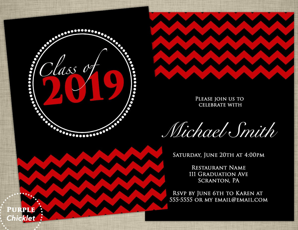 Red Graduation Invitation Class of 2019 Red Chevron Double | Etsy