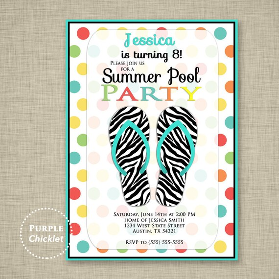 Pool Party Invite 6th 8th 10th Birthday Invitation Zebra Flip