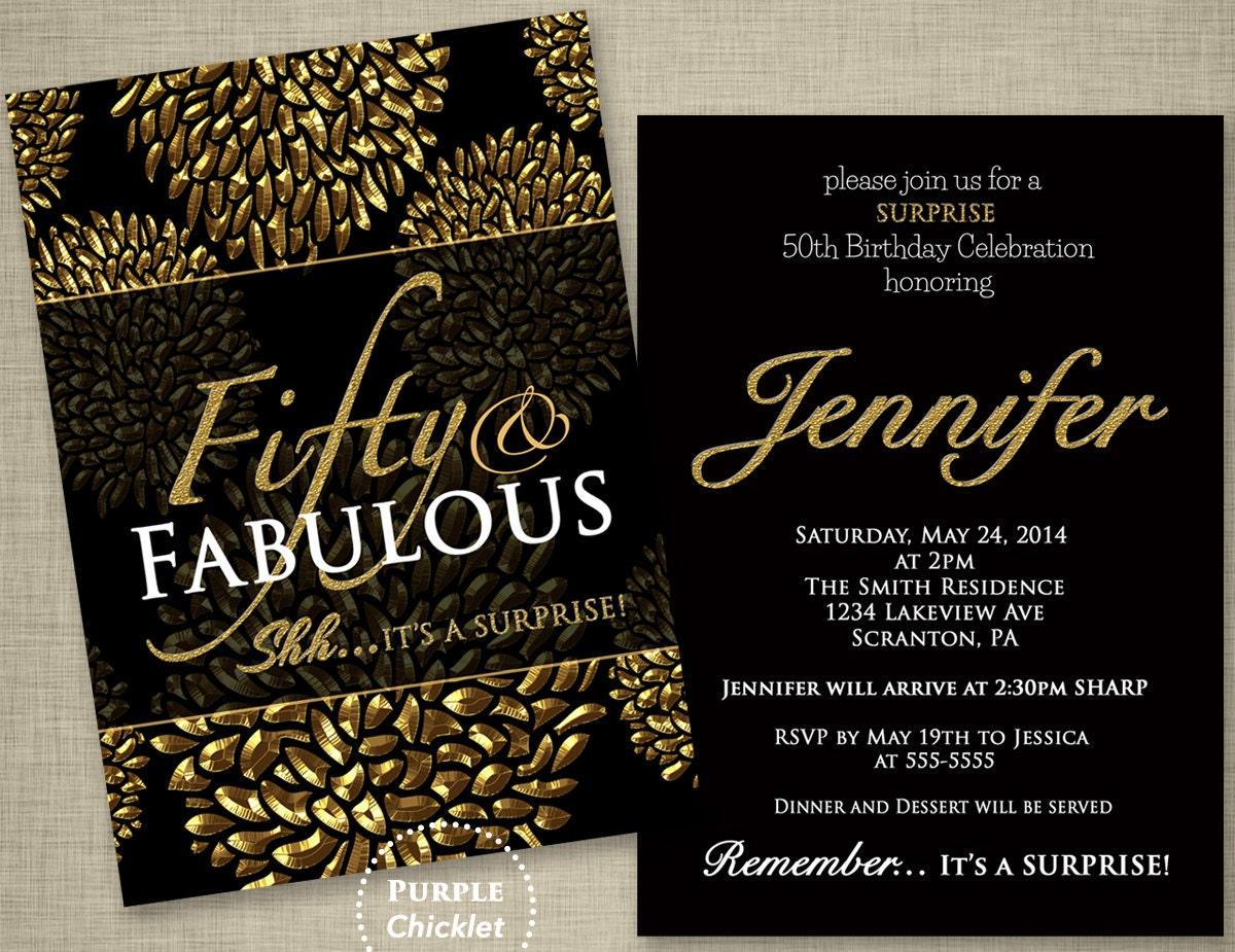 50th Birthday Surprise Party Invitation Gold Flower Bursts ...