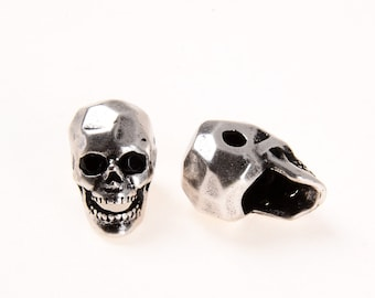 SKULL Bead Antique Style, CZ Micro Pave Faceted Skull Bead, Antique Silver Skull Spacer Bead, Spacer, Men's Bracelet Bead, 7x12mm