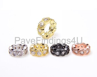 2pcs Crown beadcharm 8mm with clear cubic zironia Brass based Blackgoldwhite goldrose gold plated Jewelry supplies CZ paved