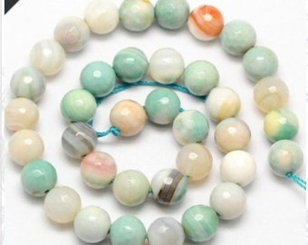 "Amazonite Fire Agate Faceted Round Beads, 8mm , 12mm, 14mm, Opaque Milky Blue Green, Spring Color, 15.5"" FULL Strand**Wholesale Pricing**"