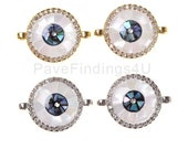 Abalone Evil Eye Connector, 24K Gold Filled CZ Micro Pave Abalone Shell Inlay Evil Eye Round Connector, Eye Charm, DIY, 17x13mm, CN087