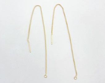 14k Gold Plated Over Silver PCE149 Minimal Earring Arc Ear Threader Long Threader Earring Long Wire Dangle Gold Silver Earring
