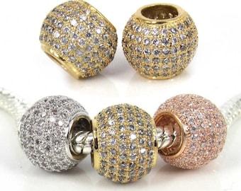 14mm, Micro Pave Pandora Shamballa Ball Large Hole beads Micro Pave CZ Cubic Zirconia Findings, Micro Pave Large Hole beads,