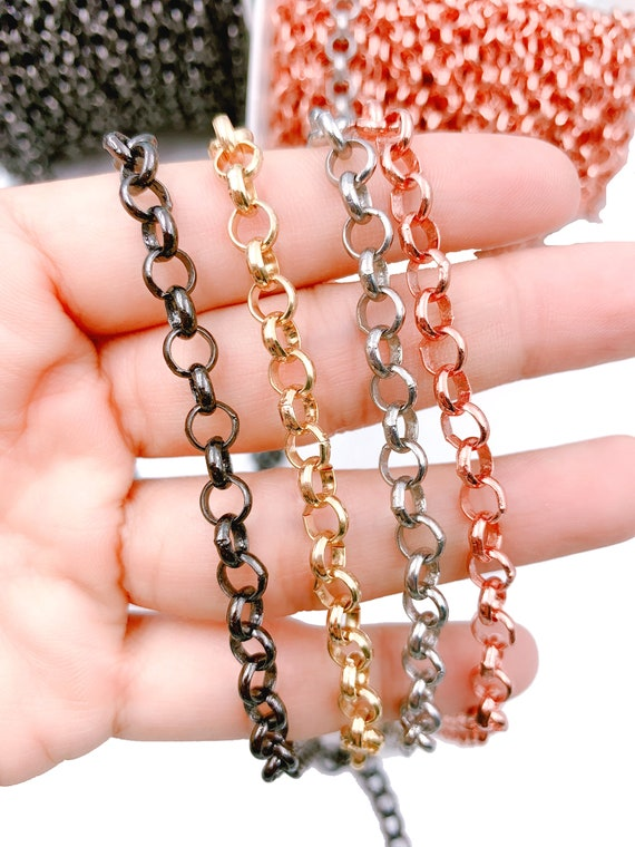 Gold Filled Oval Link Chain by Foot CH137 24K Gold Filled Two Tone Cable Chain by Yard Wholesale Textured Cable Chain for Jewelry Making