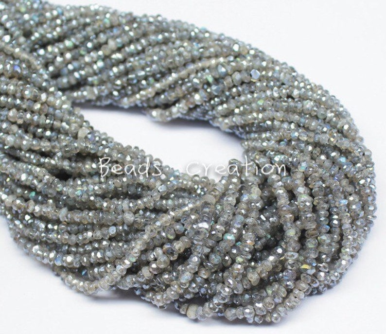 4mm A+ Mystic Coated Labradorite Full strand 14 Inches Labradorite Loose Beads,High Quality Faceted Roundelle Blue Fire LABRADORITE