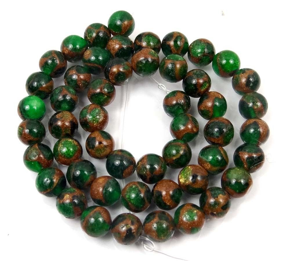 Emerald Bead Beads: Green EMERALD With Pyrite Jasper Bead Mosaic Quartz With