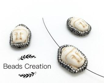 1pc/ 6pcs -Buddha Head Pave Drilled Beads , Micro Pave Buddha Beads, White Turquoise Howlite Buddha Bead, 25x19mm