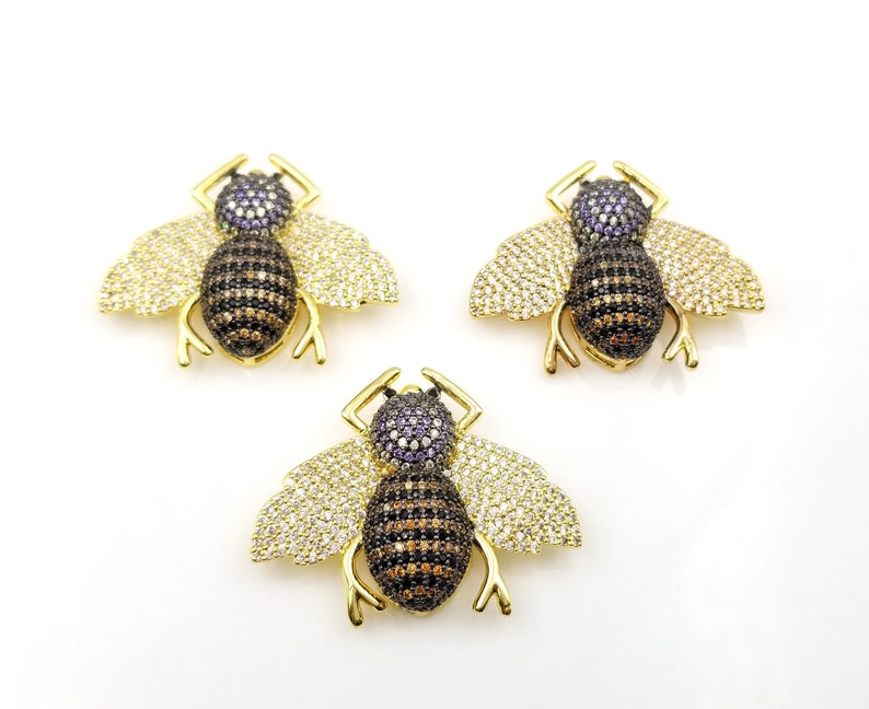 BD940-E1210 Bee Necklace Honey Bee Bee Beads Cubic Zirconia 35x27mm Large Honey Bee Beads CZ Micro Pave