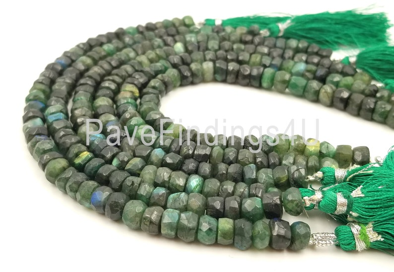 Bead Strand GS-PRP027-E51507 DIY Green Faceted Labradorite 7mm to 8mm Rondelle Bead Strand 8in Jewelry Making Gemstone Beads