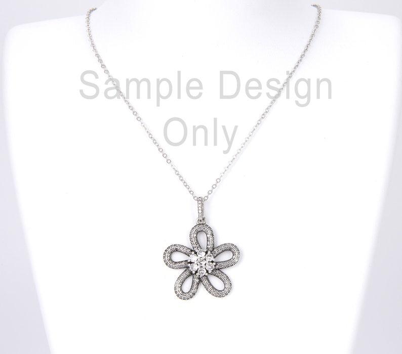 Flower Necklace 37x28mm Antique Silver Flower Charm Pendant CZ Micro Pave Cubic Zirconia Flower Pendant CP787-E1024 Flower Charm