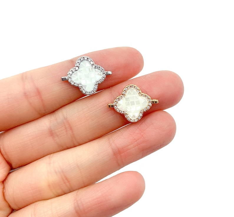CN280 Clover Connector CZ Micro Pave Connector Cubic Zirconia 18x14mm 14K Gold Filled Four Leaf Clover Freshwater Pearl Shell Connector