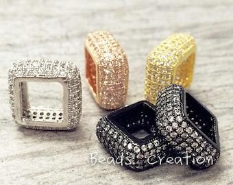 1/ 10pcs, 14mm Micro Pave CZ Cubic Zirconia Square Beads, Micro Pave Diamond CZ Findings, Pandora Spacer beads, High Quality