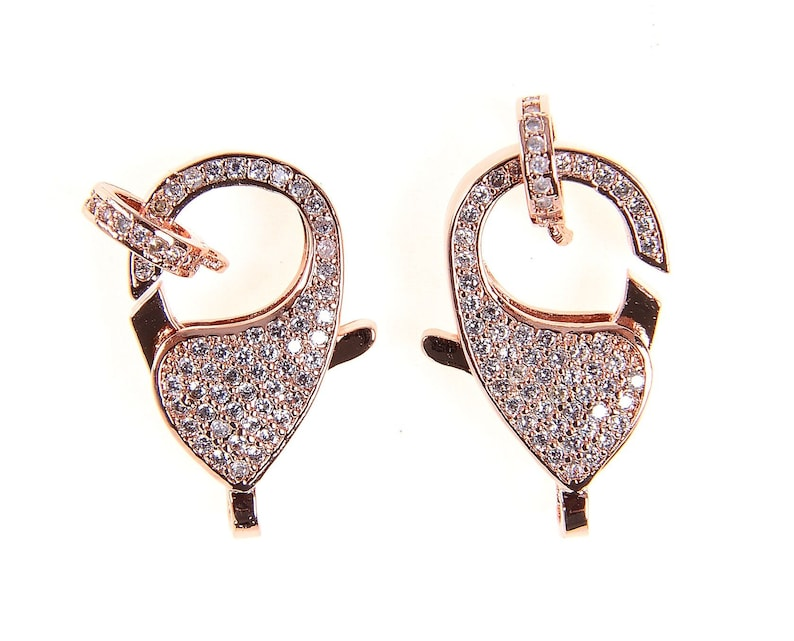 CZ Lobster Clasp Jewelry Making Enhancer Pave Closure Clasp Pave Lobster Clasp CZ Buckle Clasps CL303-E31805 Pave Clasp 17x22mm DIY