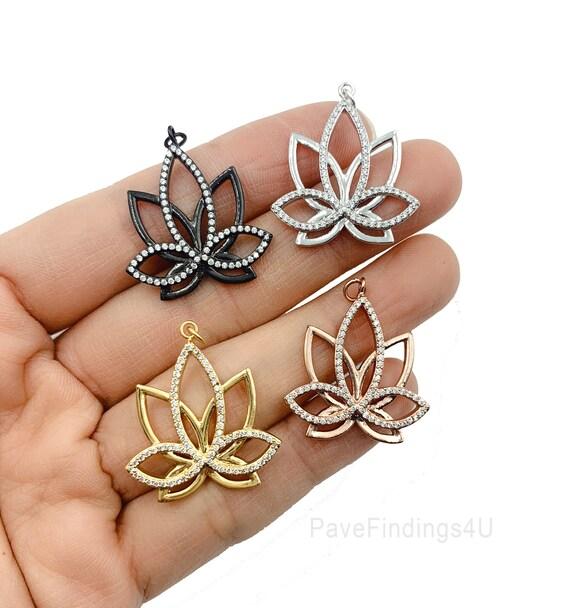 Micro Pave Cubic Zirconia Mini Pendant Yoga Zen Meditation Symbol Jewelry Bracelet Earring Necklace 14K Gold Filled Lotus Flower Charm