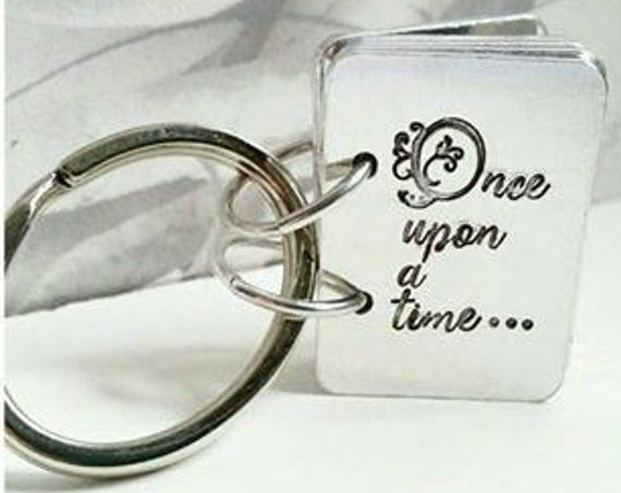 Once Upon a time, Story Book key ring,  hand stamped key chain, Gift for her, Mothers day, gift from child. for her, for him,