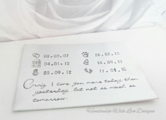Anniversary Wallet Insert, Special dates, Hand stamped, Personalised custom wedding anniversary gift present.