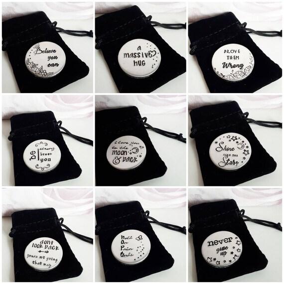 Handstamped pocket token, large custom pocket disc, motivational quotes, inspirstional gift