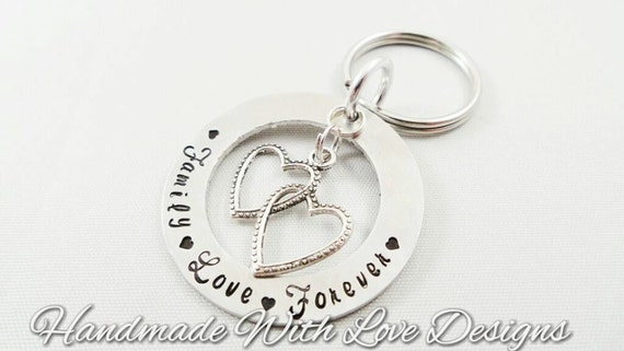 Family Love Forever Hand stamped Keyring, gift for her, metal keychain, anniversary present, stamped metal