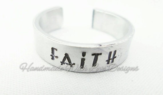Faith Hand Stamped Cuff Ring