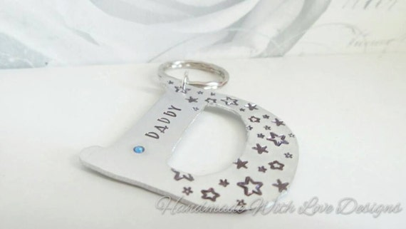Mummy Daddy Personalized Initial Keyring, Name Keychain With handstamped designs,