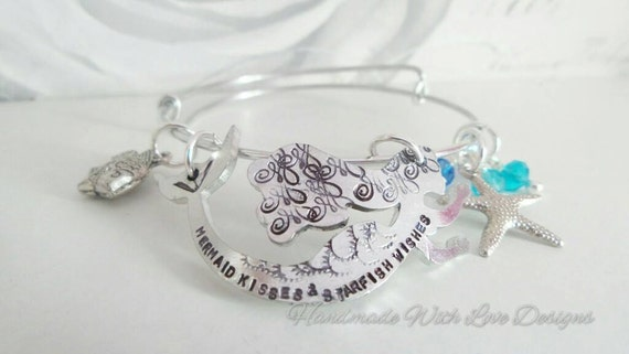 Handstamped adjustable Mermaid stackable lightweight summer bangle with beads and charms