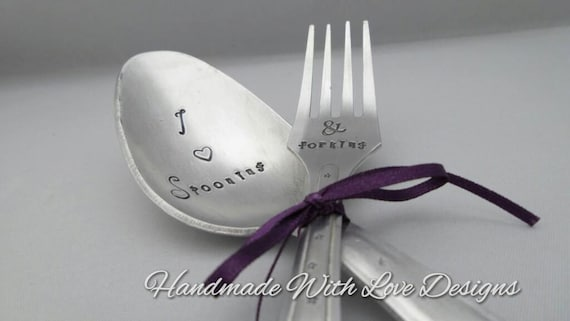 Hand Stamped Vintage Spoon and Fork Set