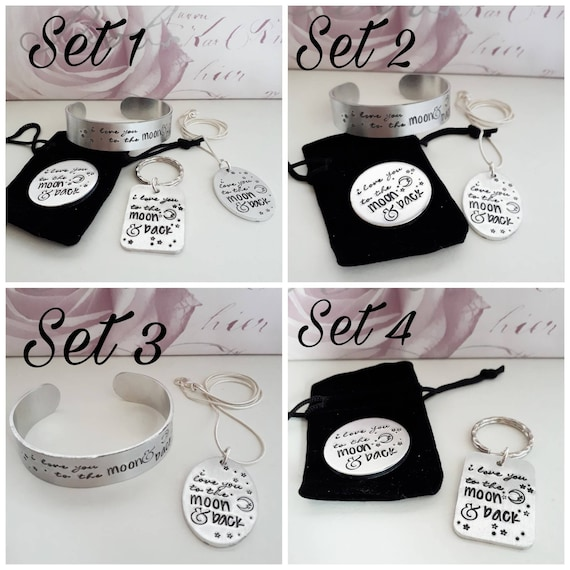 I love you to the moon and back jewellery pendant cuff bracelet token keyring set handstamped