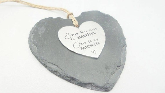 Love story Slate hanging heart decoration, decorative handstamped personalised