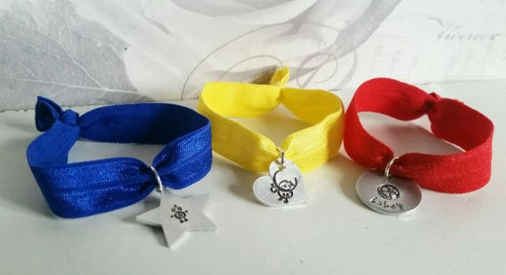 Kids elastic bracelet | Personalised hand stamped childs charm bracelet | Present for kids