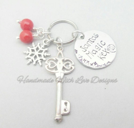 Santa Key - Handstamped Christmas Santas Magic Key, christmas gift, christmas eve box, Santa key, hand stamped key decoration