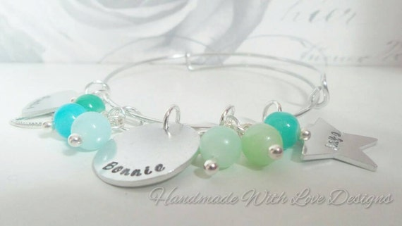 Handstamped adjustable stackable lightweight summer bangle with beads and charms