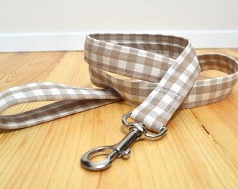 """tan dog leash, dog lead, 1"""" width, 120cm dog leash, 45"""" dog leash, lightweight dog leash, custom length leash, fabric dog leash, gingham"""