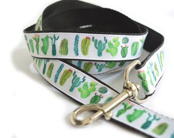 "cactus dog leash, cactus dog lead, dog leash, lead, 1"" width, 120cm dog leash, 45"" dog leash, lightweight dog leash, custom length leash,"