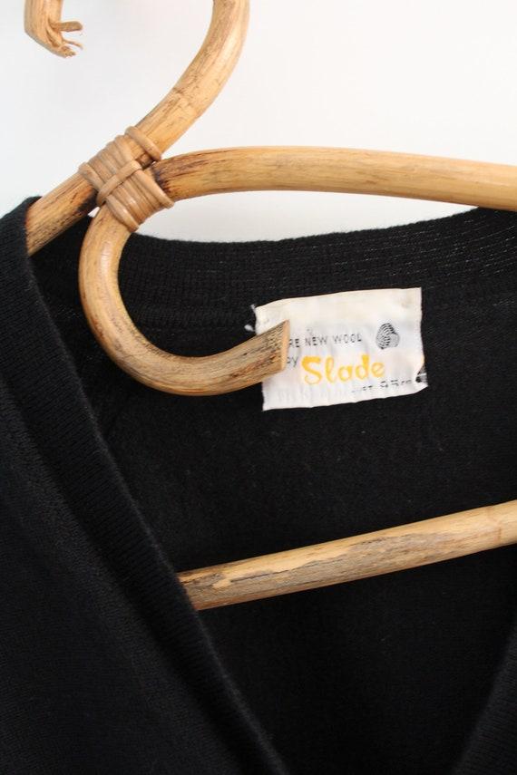 Vintage 80s 90s snug fit black cropped wool cardi… - image 3