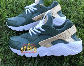 b1bc56ad7032 Custom Olive Green and Gold Glitter Nike Air Huaraches with glitter logo ( Women   Men sizes - contact me for kids)