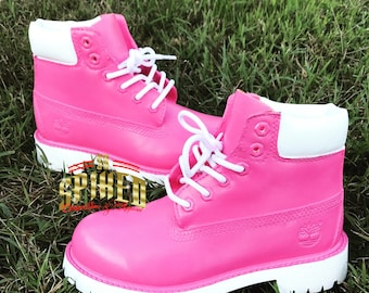 Pink timberlands   Etsy