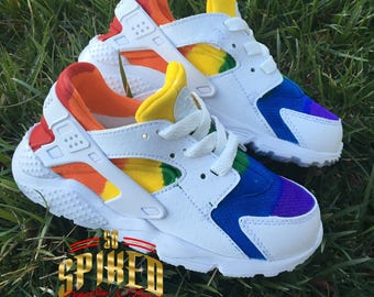 895428c070e8 Custom Rainbow Nike Air Huaraches Toddler