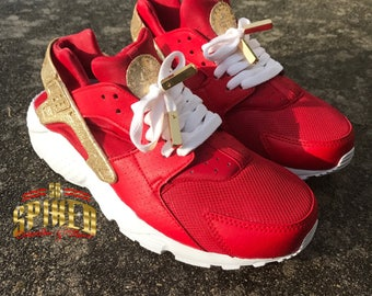 super cute 03ee3 c7d0a Custom Red and Gold Glitter Nike Air Huaraches with glitter logo (Women    Men sizes - contact me for kids)