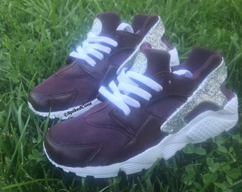 brand new 50c09 76848 Custom Burgundy and Silver Glitter Nike Air Huaraches with glitter logo  (Women   Men sizes - contact me for kids)