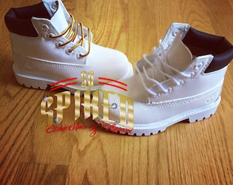 bf59ae6b3e55 Custom Toddler Youth Kids Adult White Timberlands (Painted)