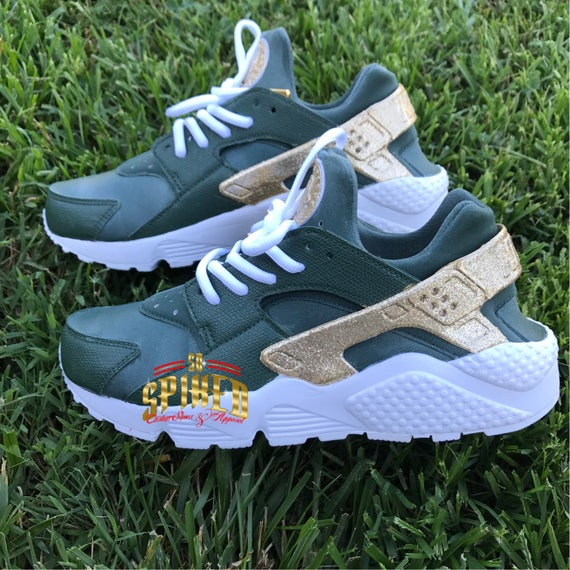 Custom Olive Green and Gold Glitter Nike Air Huaraches with  44f2e5f427