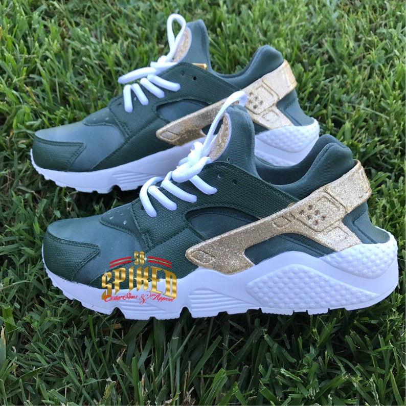 18c50eb50274a Custom Olive Green and Gold Glitter Nike Air Huaraches with glitter logo  (Women & Men sizes - contact me for kids)