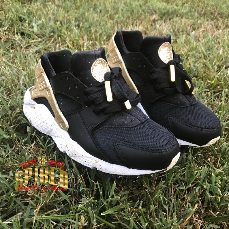 the best attitude c1666 c17de Custom Black and Gold Glitter Nike Air Huaraches Black   Etsy