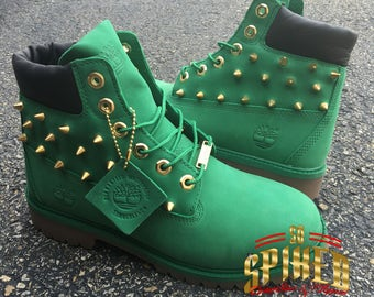 Men Green spiked gold timberlands!!!