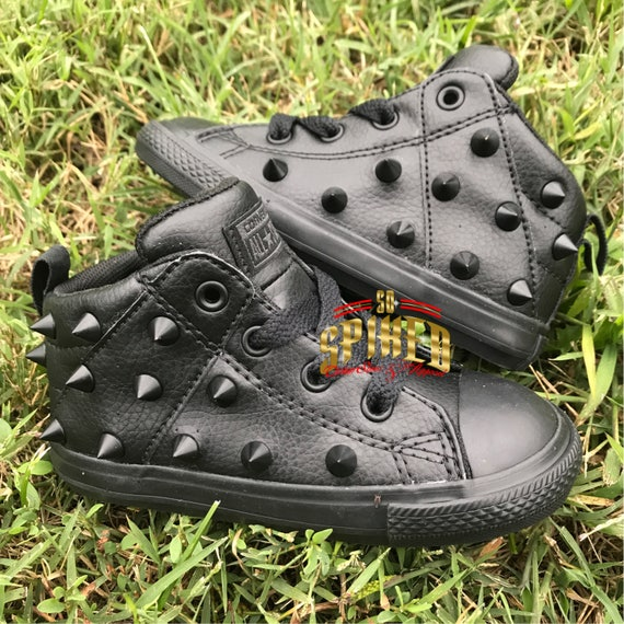 All black on black leather studded converse 62add632a