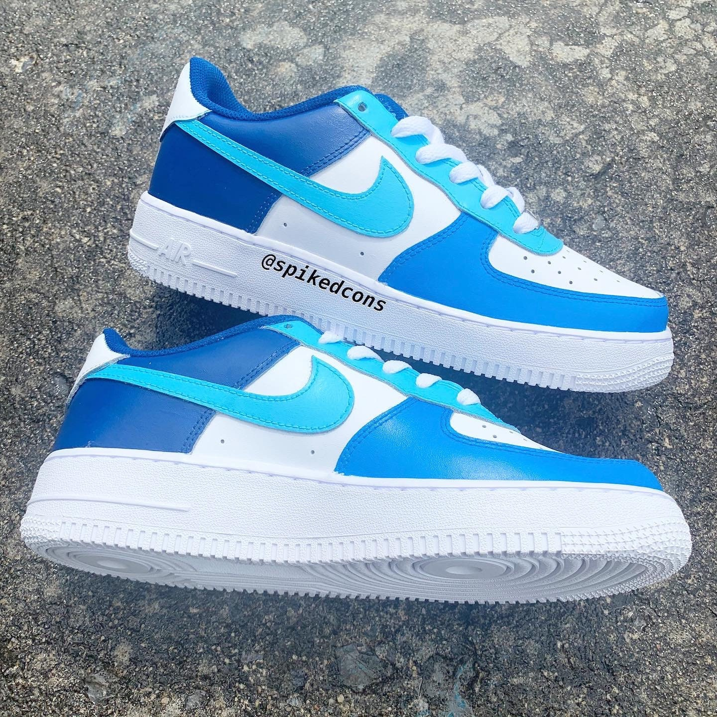 """Custom """"3 Shades of the Blues"""" Nike Air Force 1 (AF1)Check Sizing Before Ordering"""