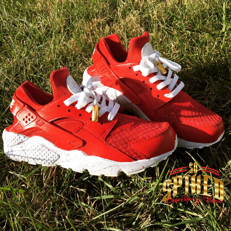 f3d79dd2a5439 Custom Red Women Nike Huaraches w  Splattered Soles see other
